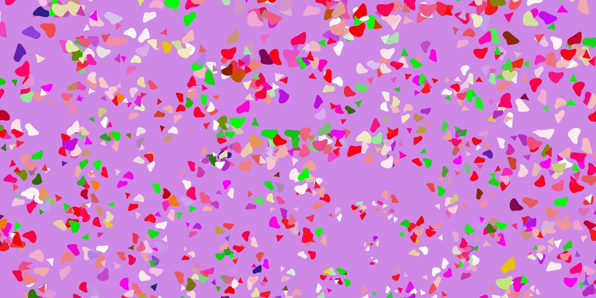 patrón de vector rosa claro, verde con formas abstractas.