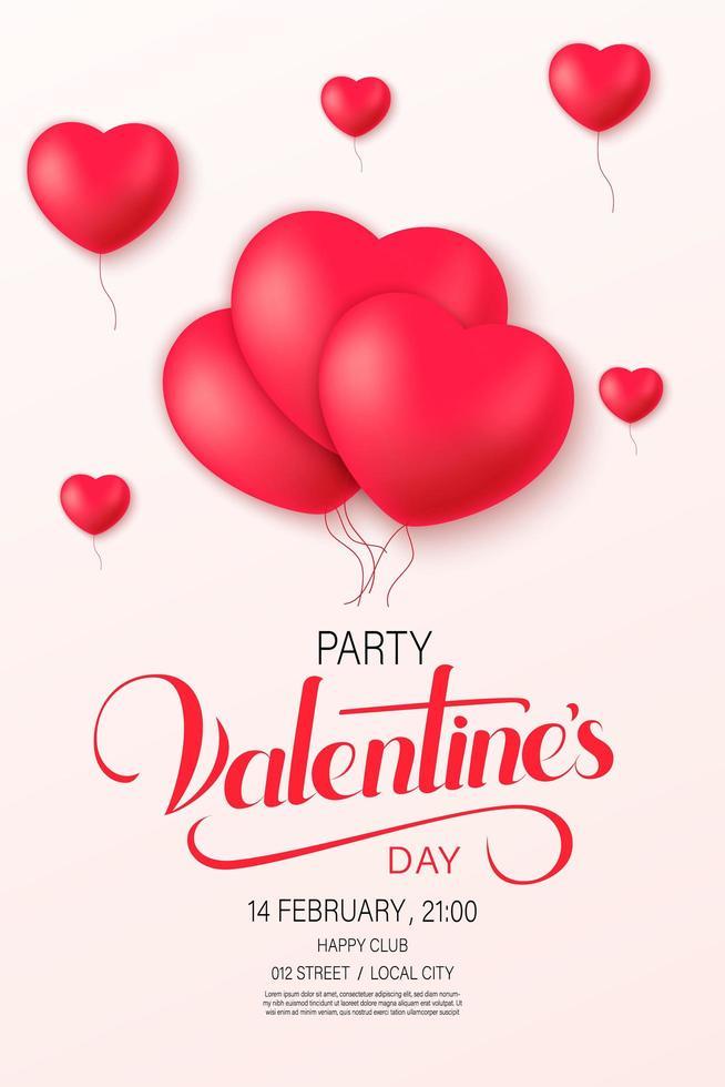 Folleto de fiesta de feliz día de San Valentín con globos de corazón vector