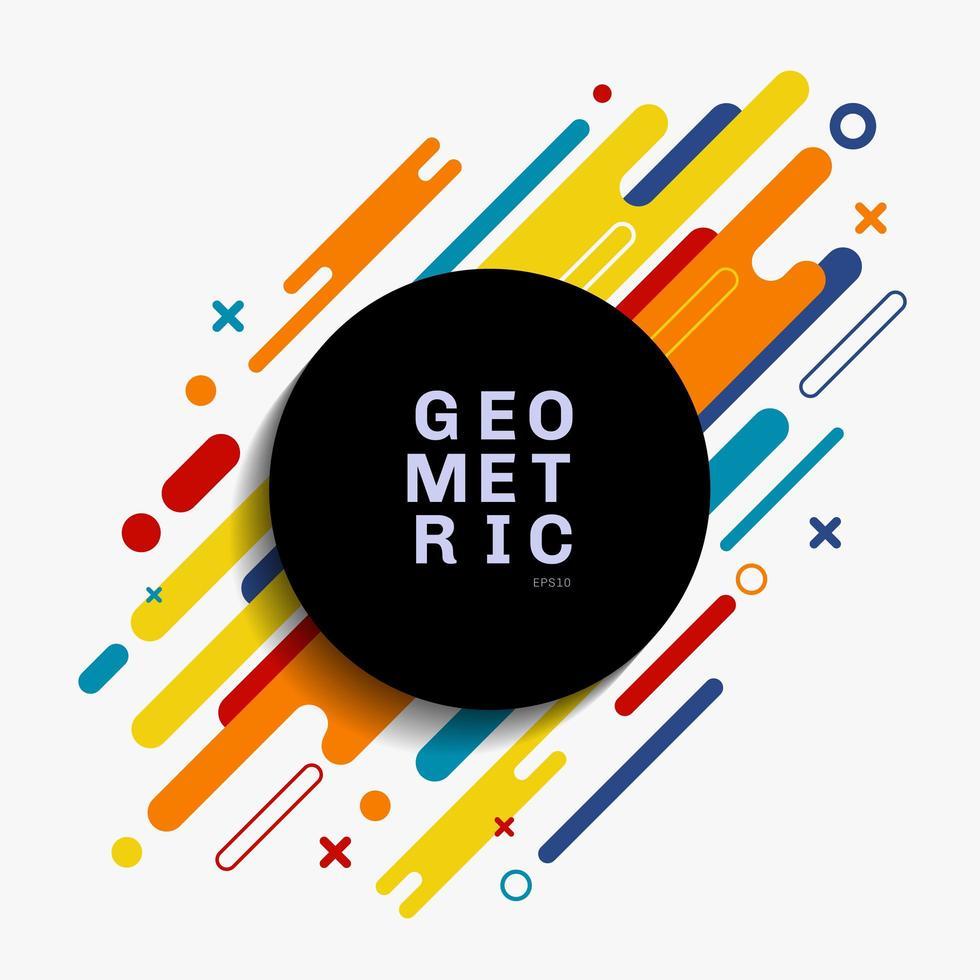 composición geométrica colorida abstracta hecha de varias líneas diagonales de forma redondeada con espacio de círculo negro para el texto. vector
