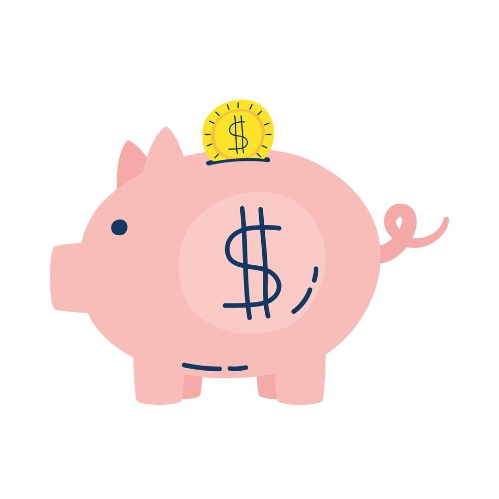 alcancía, ahorro, dinero, dólar, icono vector