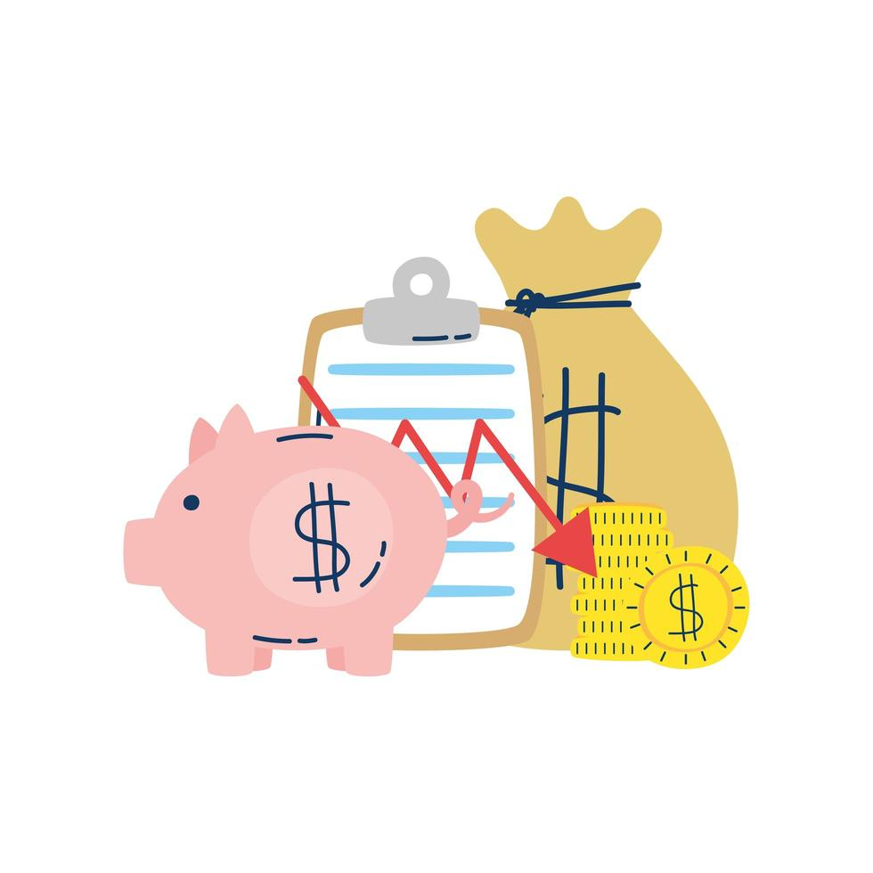 money dollar bag with coins and piggy vector
