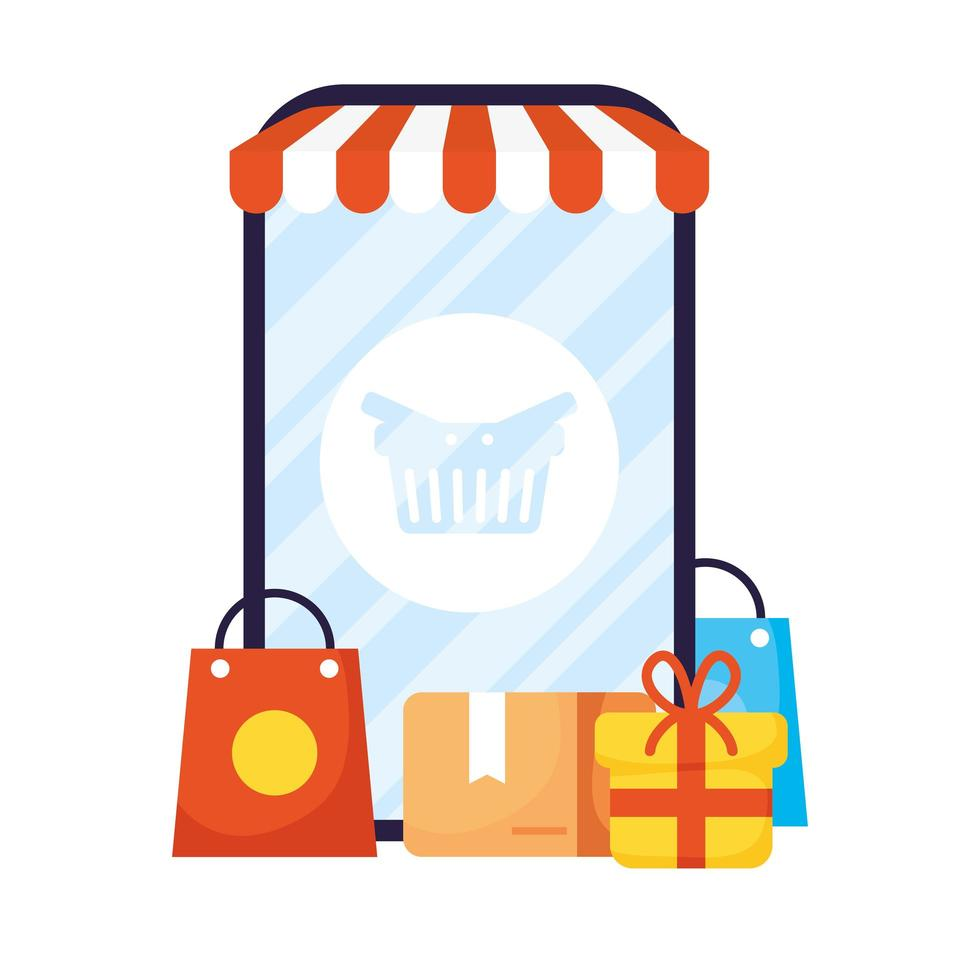 smartphone with parasol and icons ecommerce vector