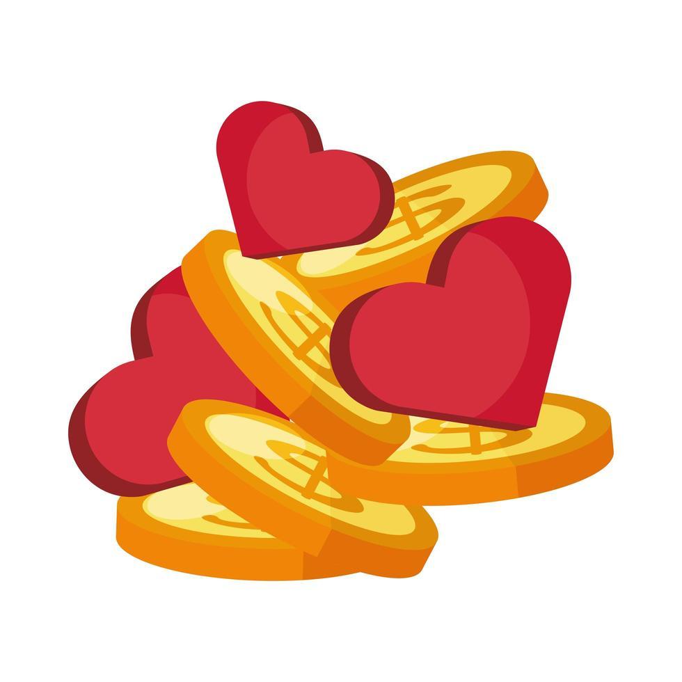monedas dinero dólares con corazones vector