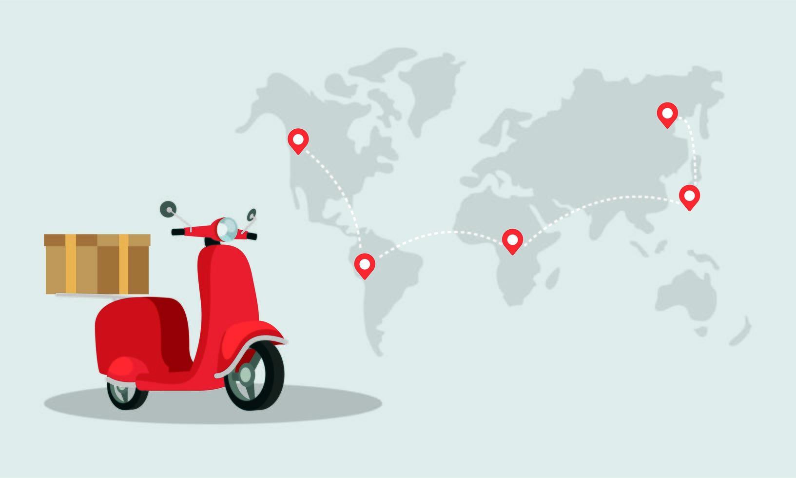 Entrega de motos scooter icono aislado vector