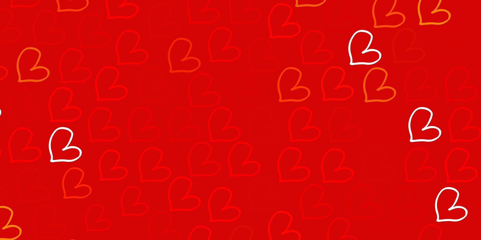 patrón de vector naranja claro con corazones de colores.