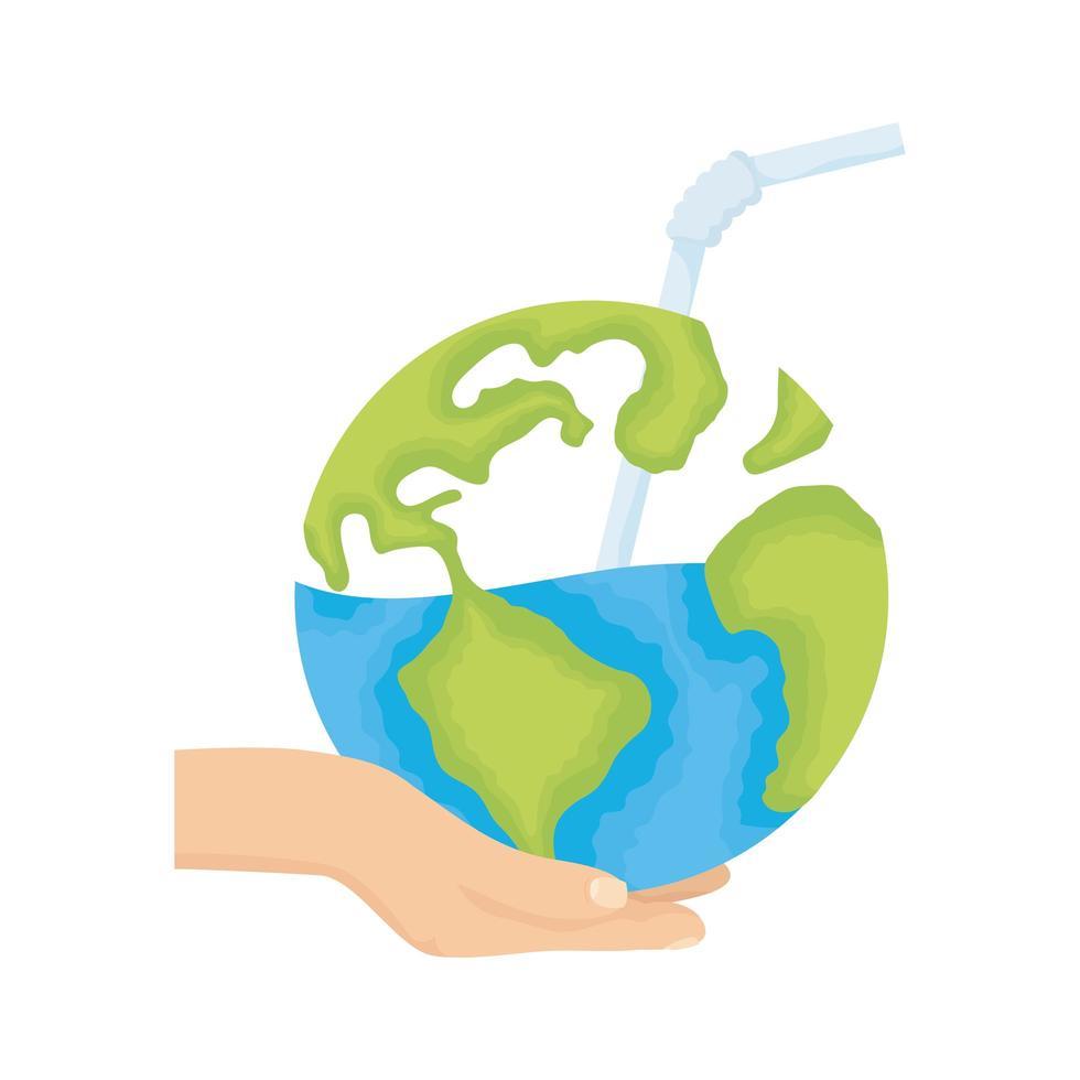 Mano levantando el planeta tierra mundial con el icono del día del agua de paja vector
