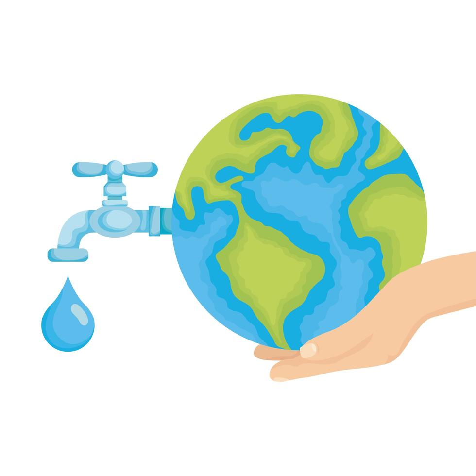hand lifting world planet earth with water faucet open vector