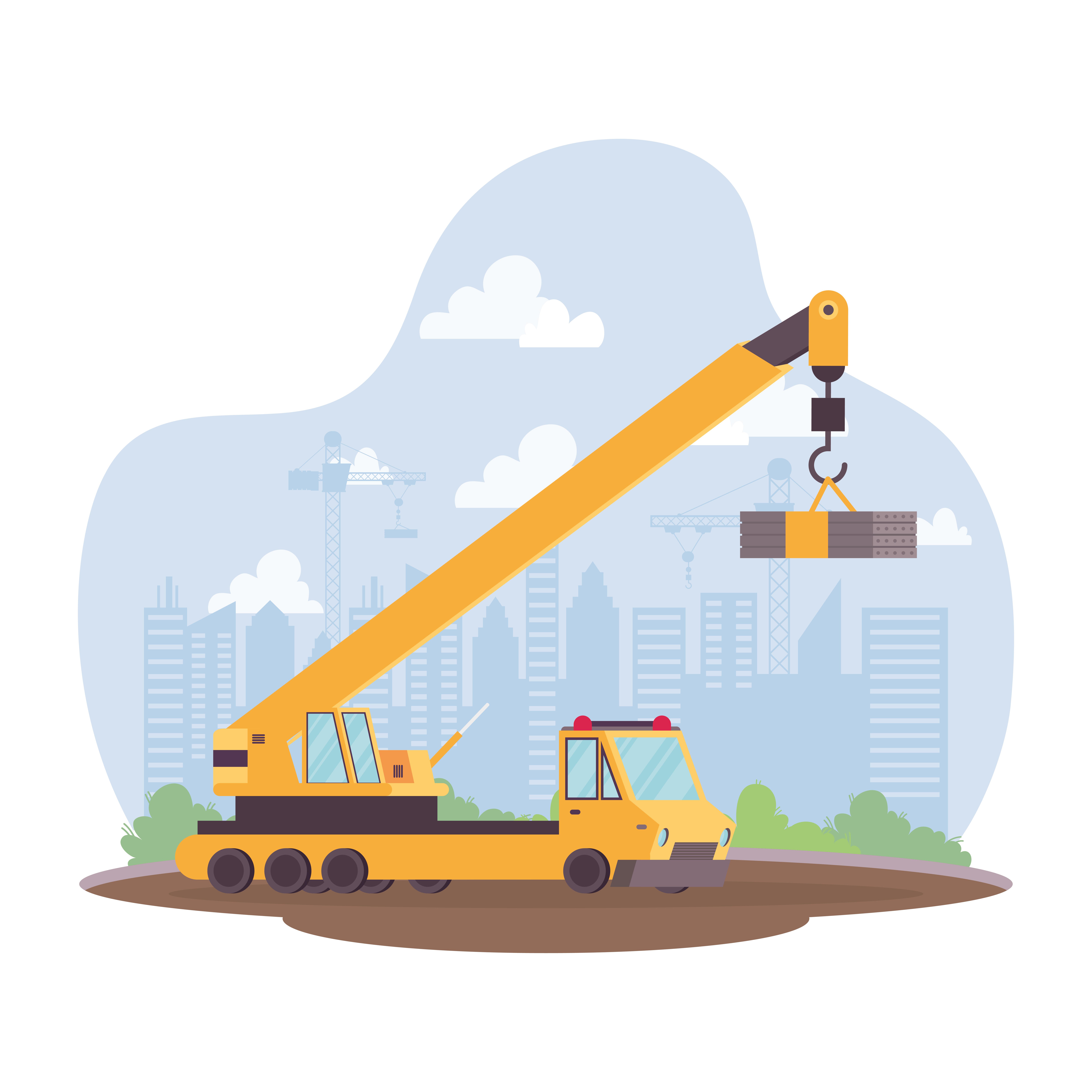 construction crane vehicle in workplace scene 1839710 vector art at vecteezy  vecteezy