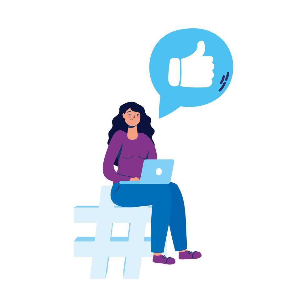 Mujer joven sentada en el símbolo numérico usando una computadora portátil y redes sociales vector