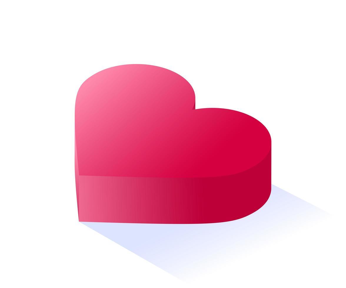 corazón rojo amor isométrico vector