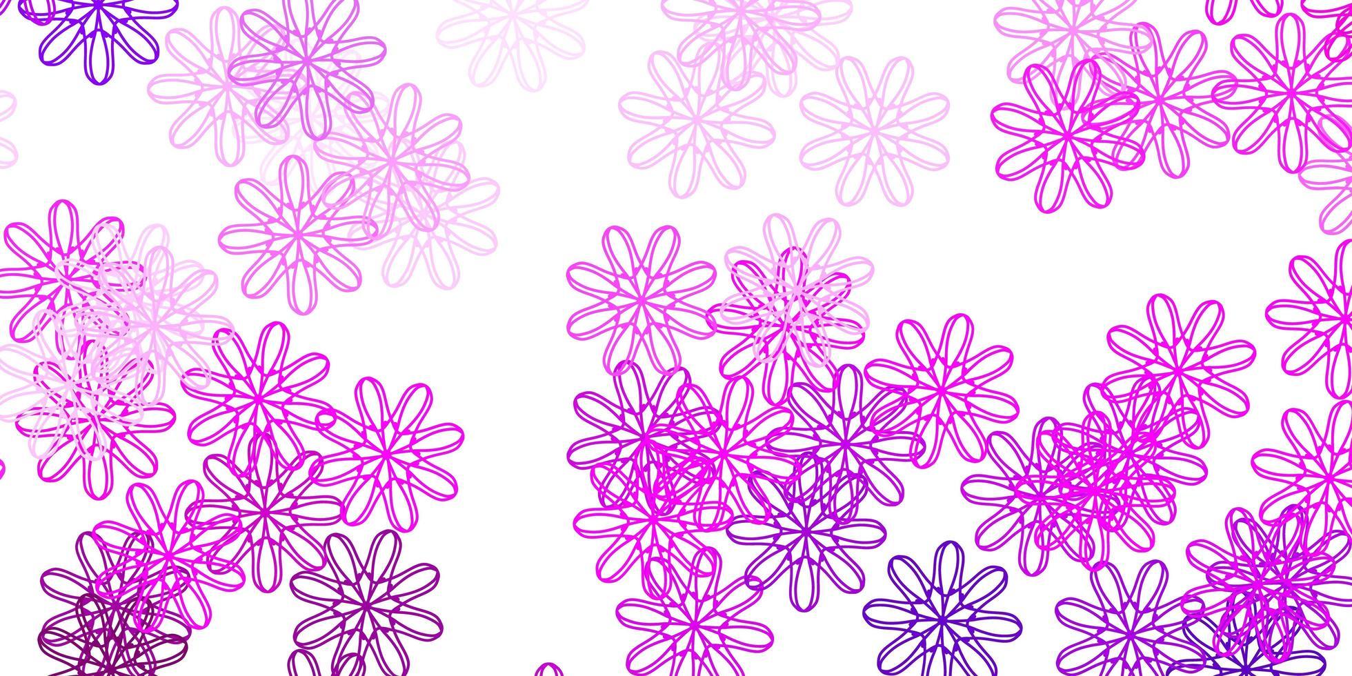 patrón de doodle de vector púrpura claro, rosa con flores.