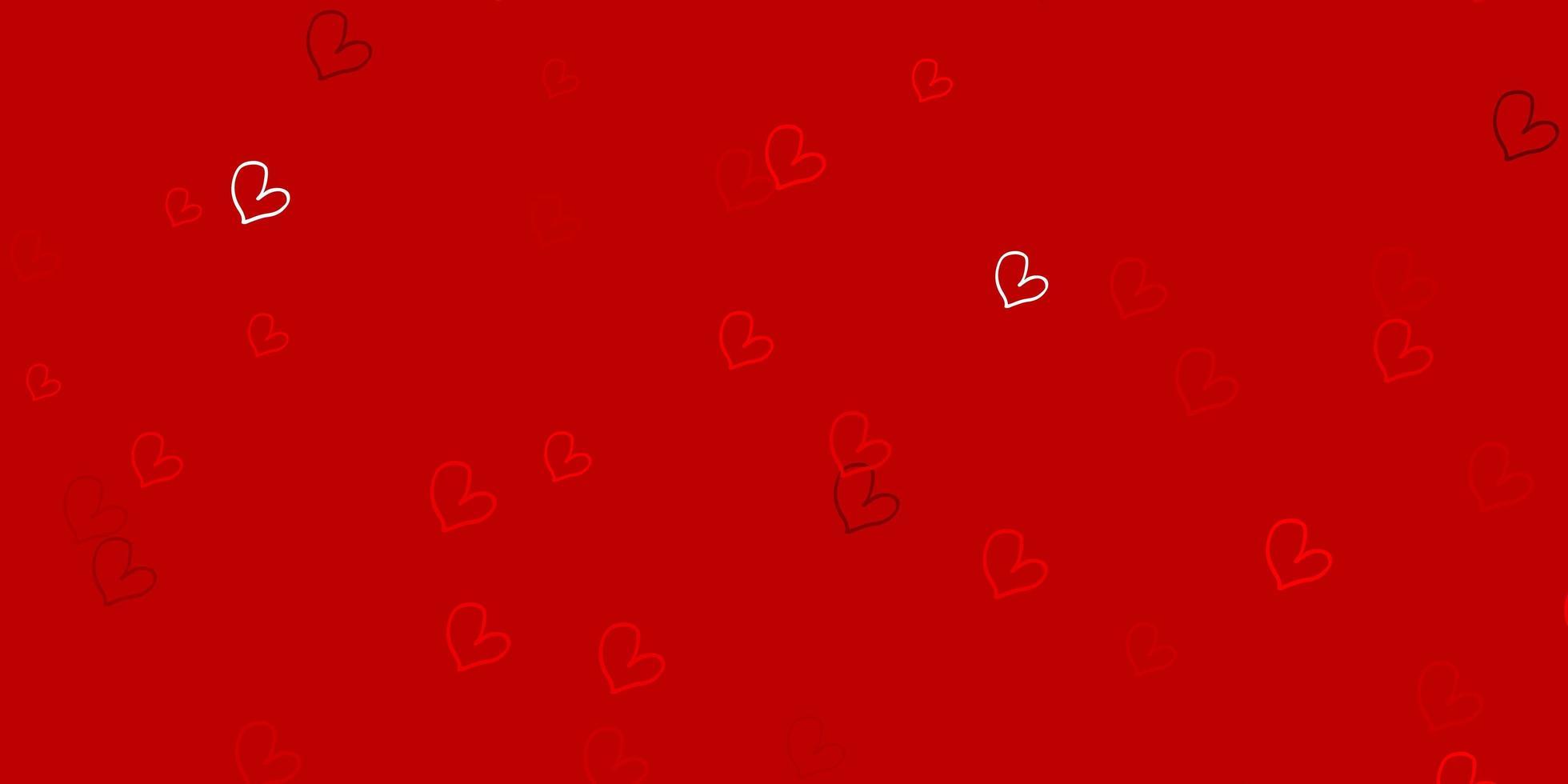 Plantilla de vector rojo claro con corazones de doodle.