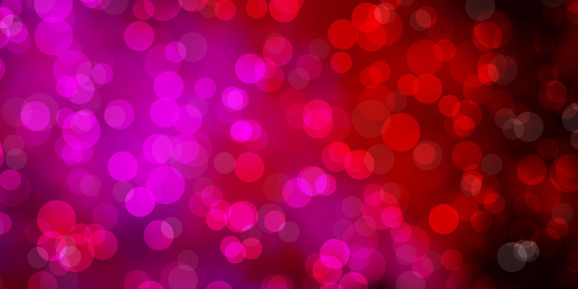 plantilla de vector de color púrpura oscuro, rosa con círculos.