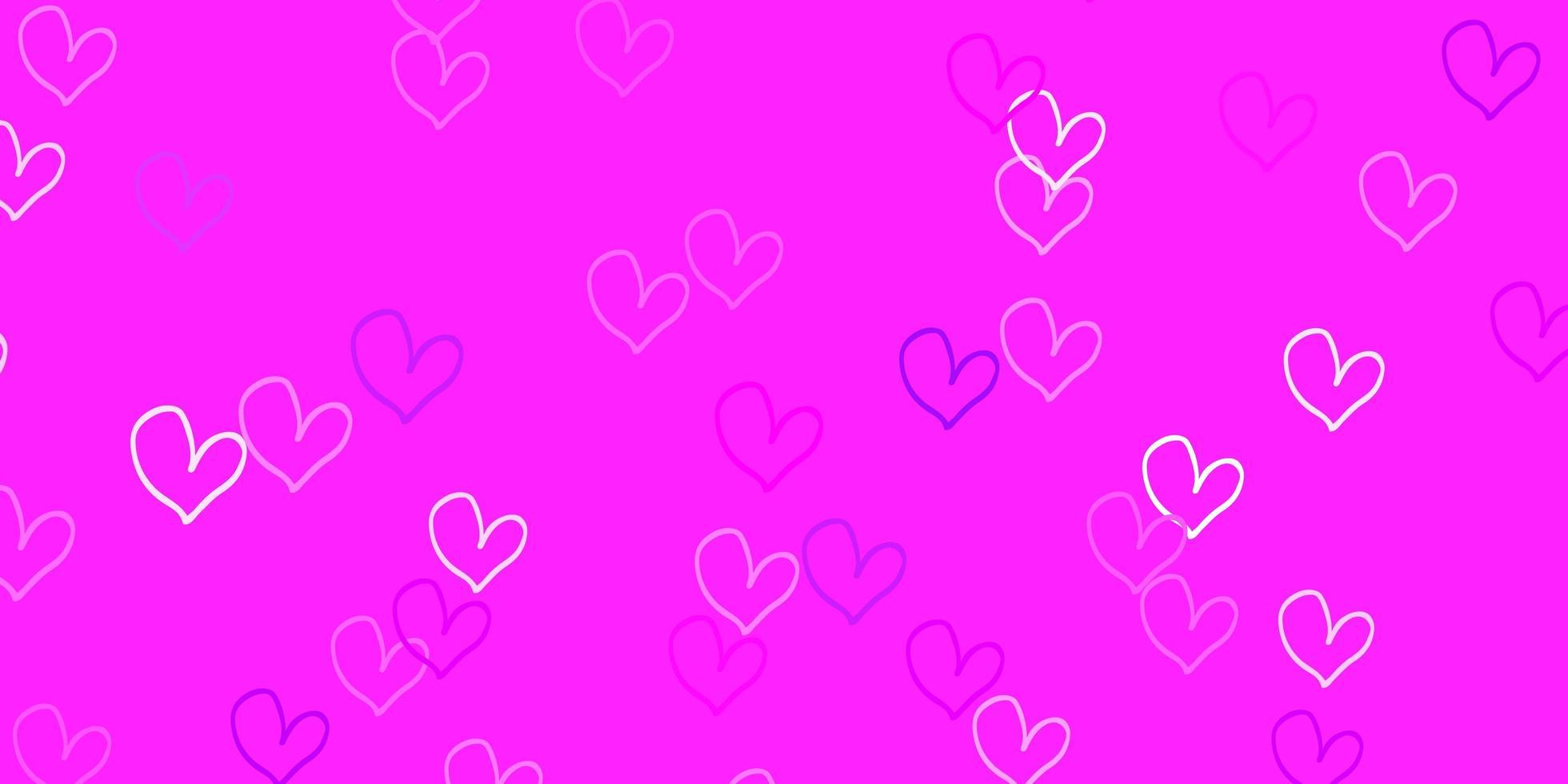 plantilla de vector de color púrpura claro, rosa con corazones de doodle.
