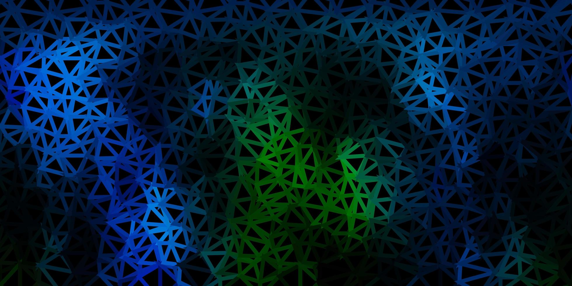 Dark blue, green vector abstract triangle backdrop.