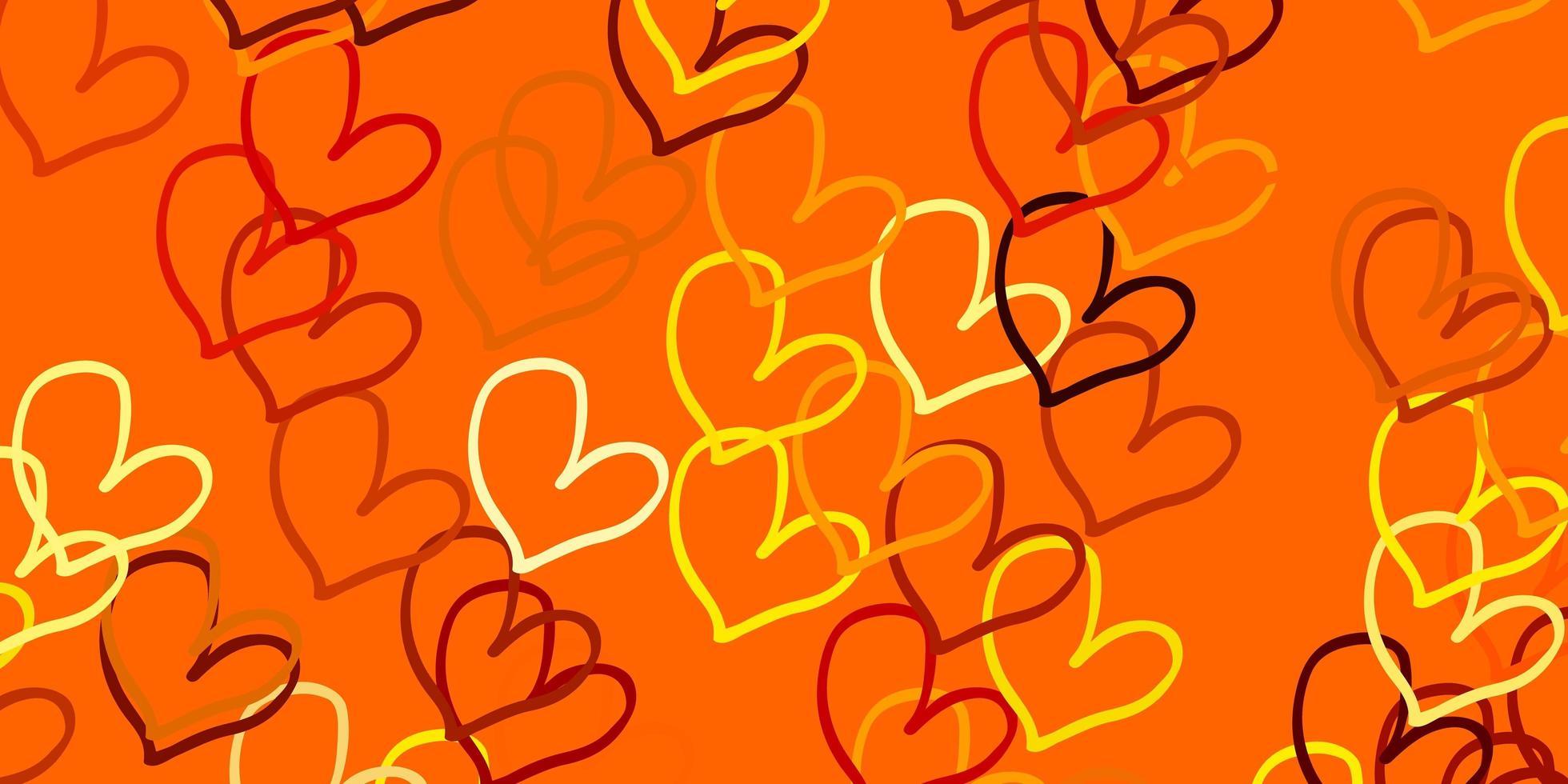 Plantilla de vector naranja claro con corazones de doodle.