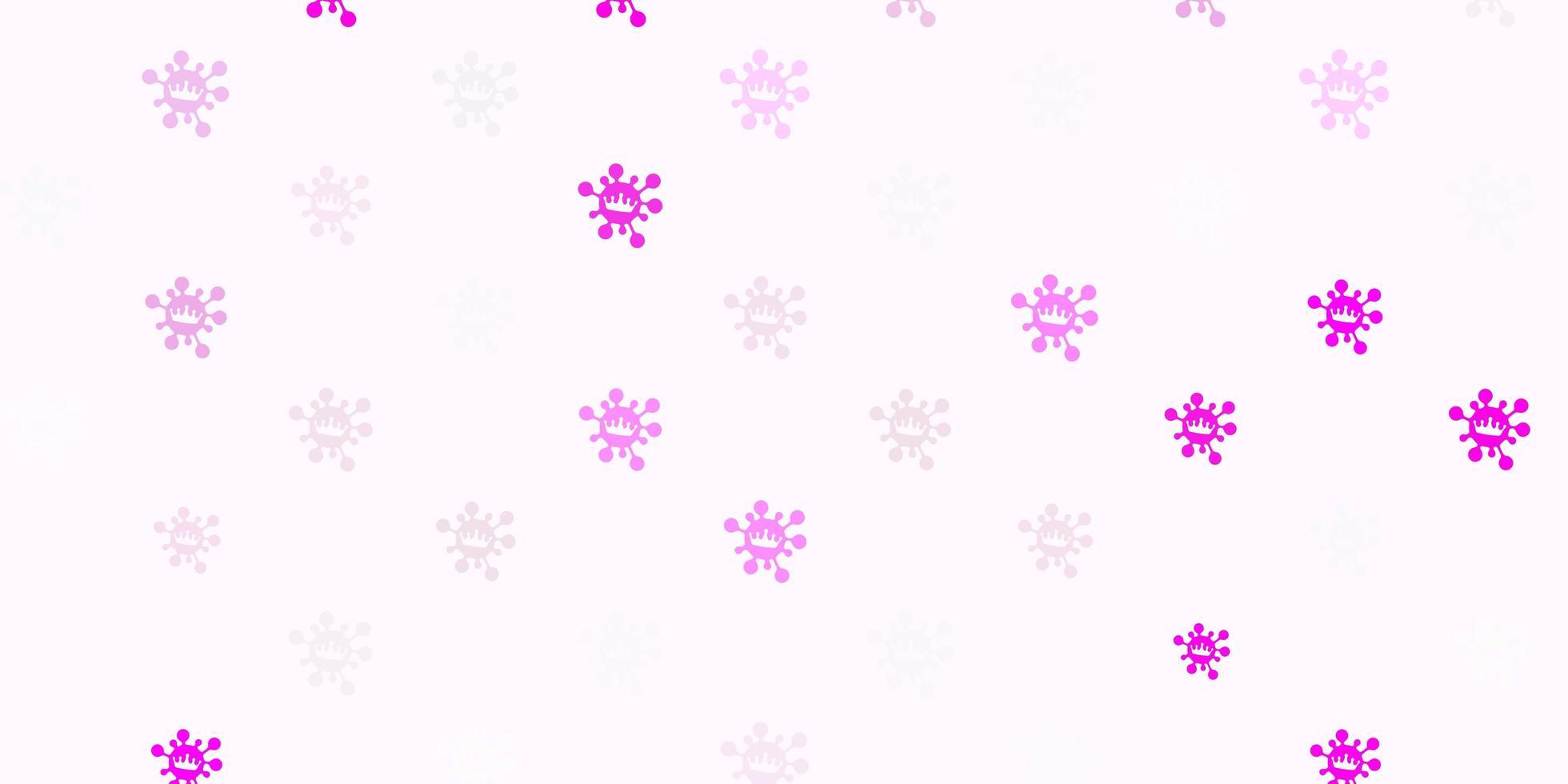 Light pink vector backdrop with virus symbols