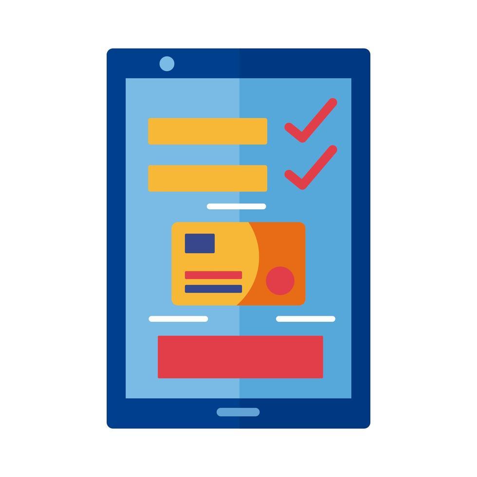 pago con tarjeta de crédito y teléfono inteligente estilo plano en línea vector