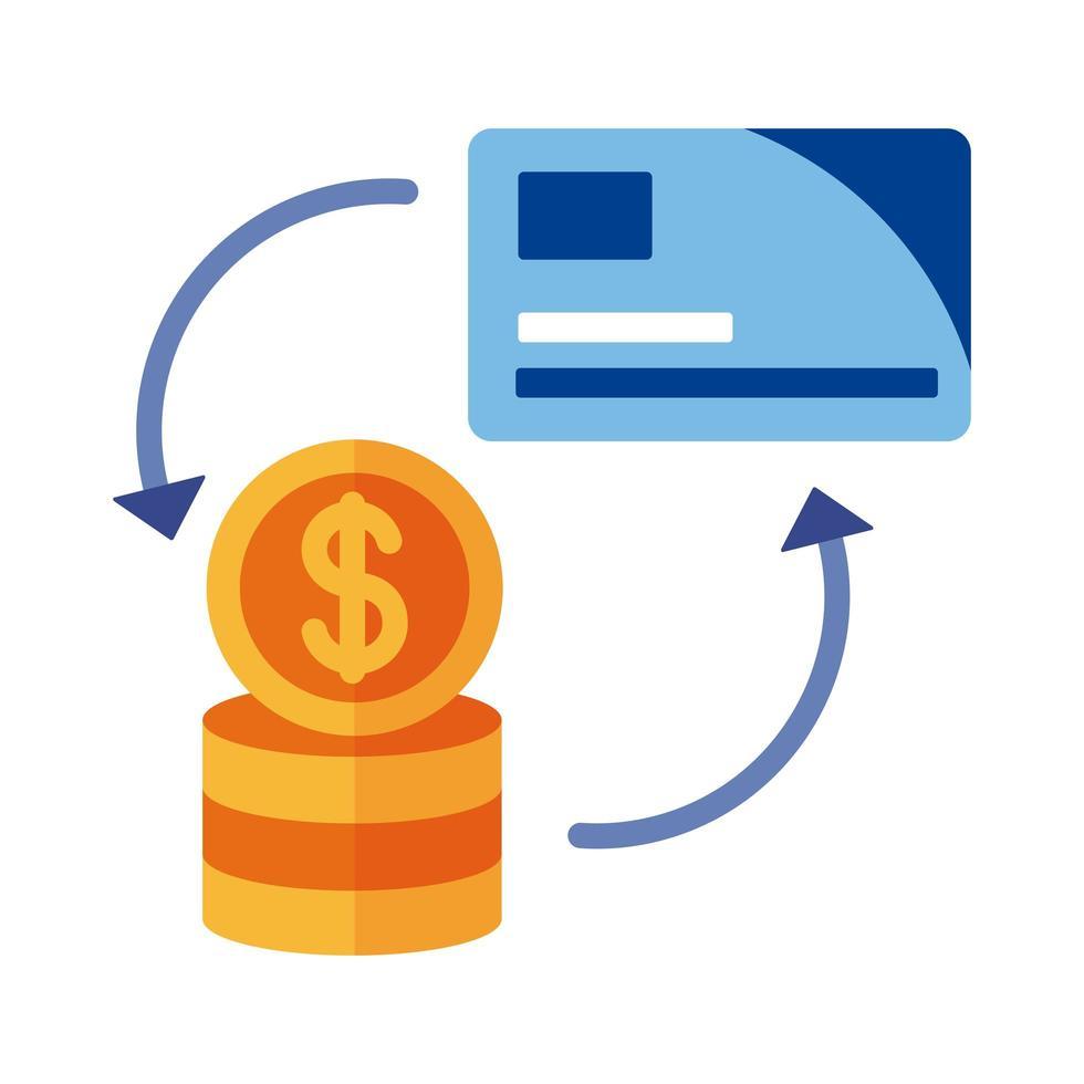 pago con tarjeta de crédito y monedas estilo plano en línea vector