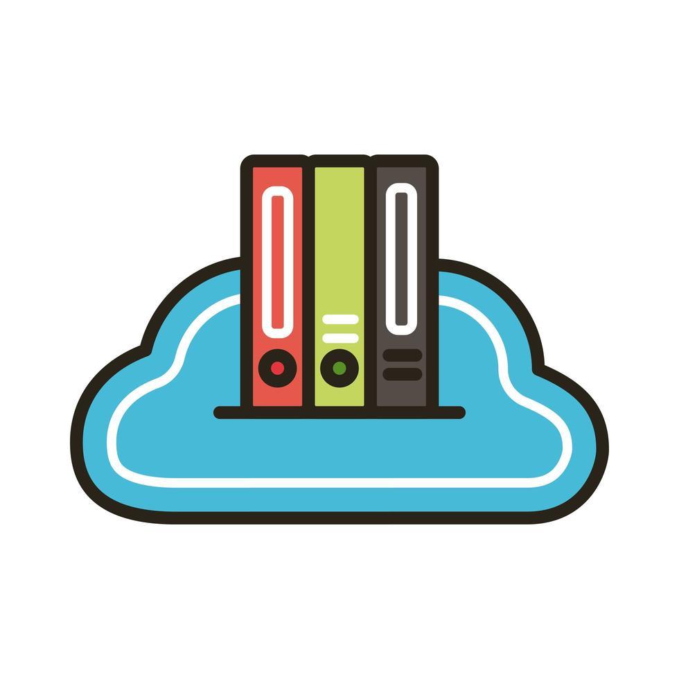 libros electrónicos en educación en la nube vector