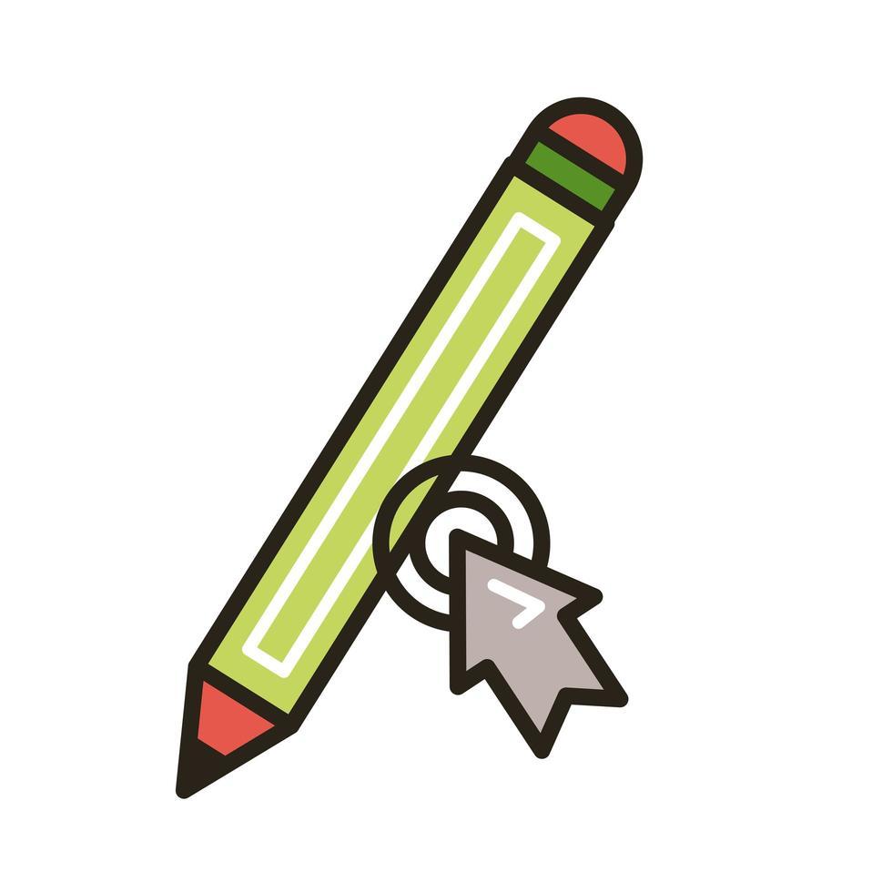 ratón de flecha con lápiz educación línea en línea y estilo de relleno vector