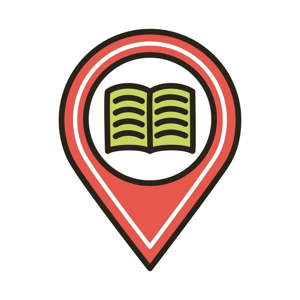 libro electrónico en la ubicación del pin vector