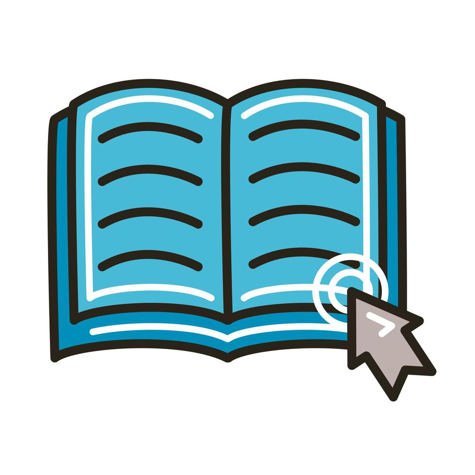 libro electrónico con línea de educación en línea de flecha del mouse y estilo de relleno vector