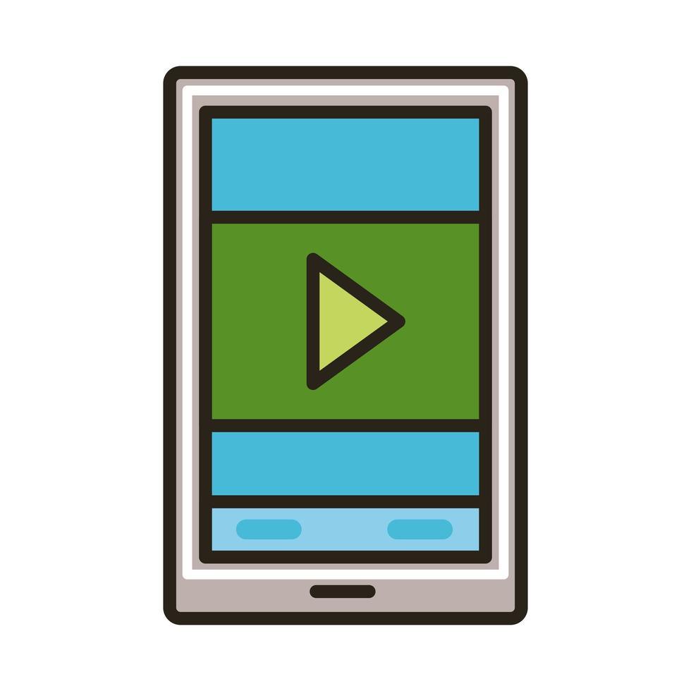 teléfono inteligente con línea de educación en línea de botón de reproducción y estilo de relleno vector