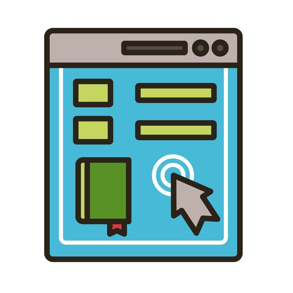 libro electrónico en plantilla y cursor vector