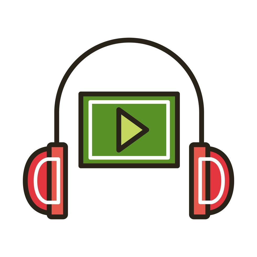 reproductor multimedia y educación en línea de auriculares y estilo de relleno vector