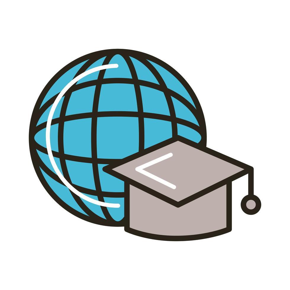 sombrero de graduación con línea de educación mundial del planeta en línea y estilo de relleno vector