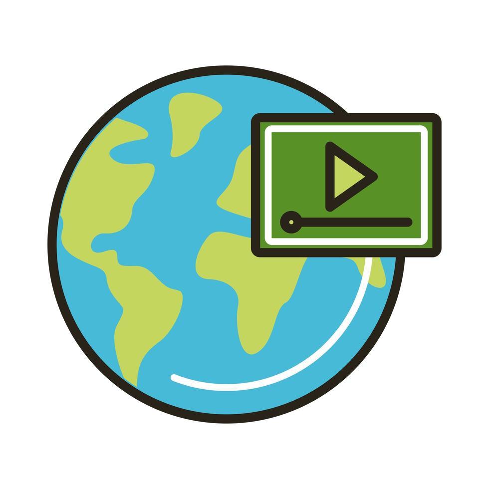 planeta tierra con reproductor multimedia vector