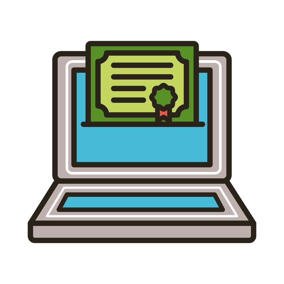 graduation certificate in laptop vector