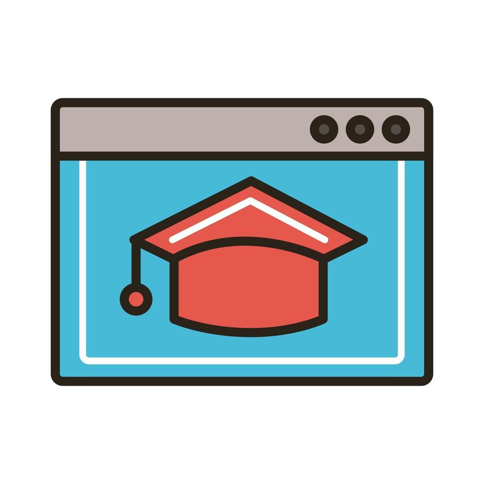 plantilla de página web y sombrero de graduación vector