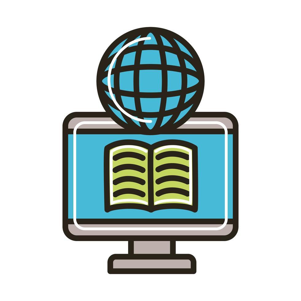 libro electrónico en escritorio y navegador vector