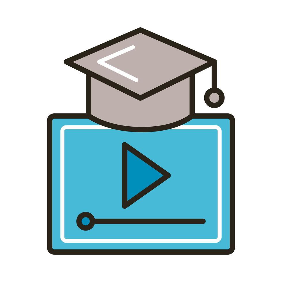 sombrero de graduación con botón de reproducción, línea de educación en línea y estilo de relleno vector