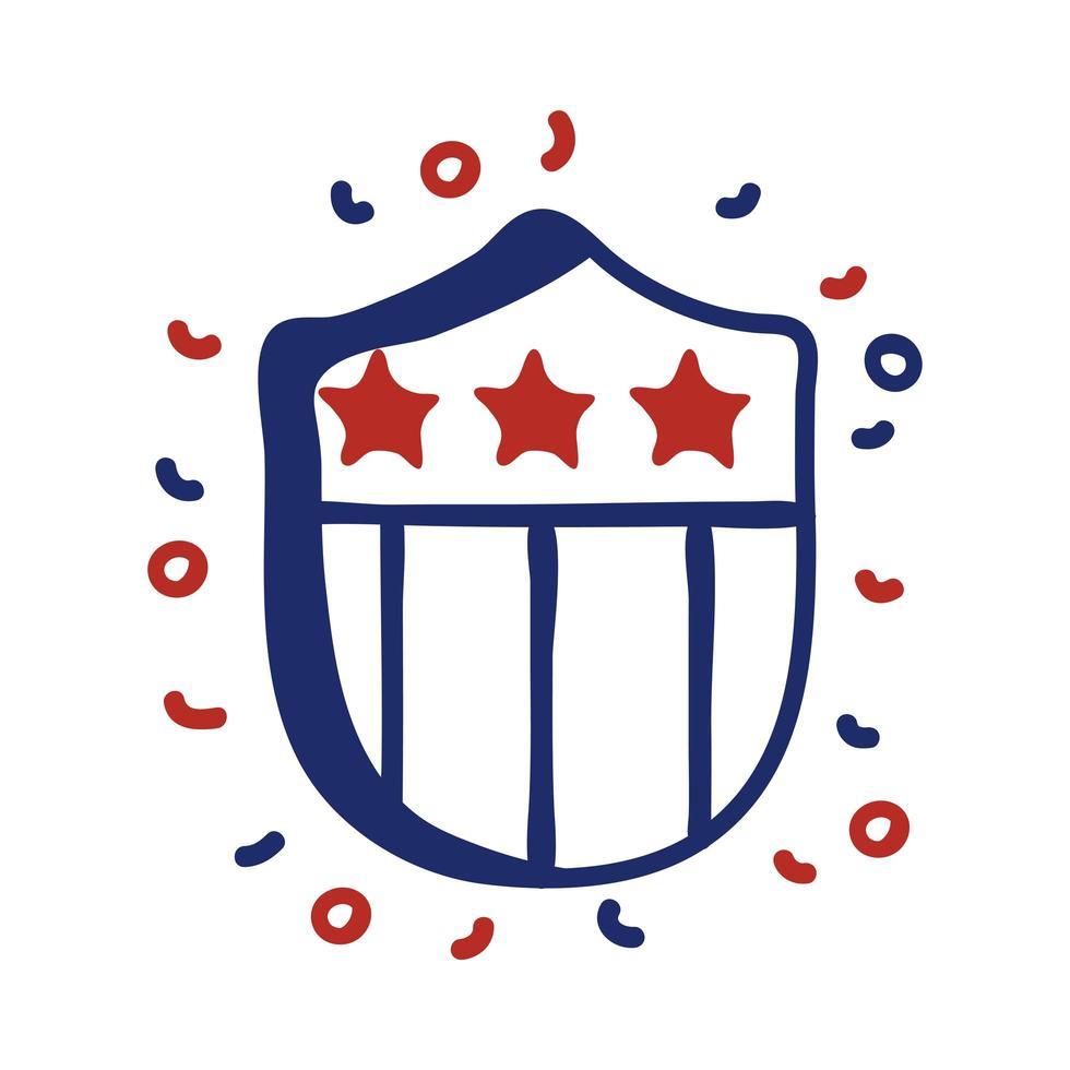 Escudo con diseño de ilustración de vector de estilo de línea de bandera de Estados Unidos