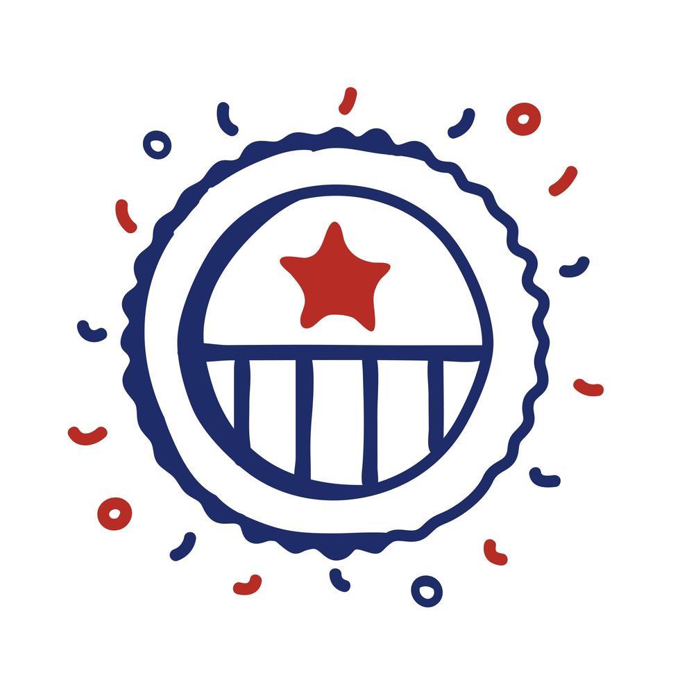 Bandera de Estados Unidos, diseño de ilustraciones vectoriales de estilo de línea de bastidor circular vector