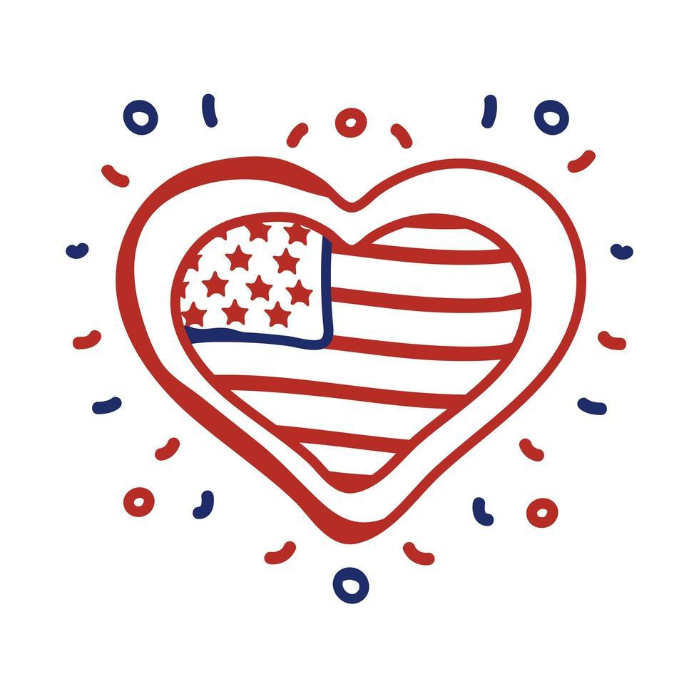 corazón con estilo de línea de bandera de Estados Unidos vector