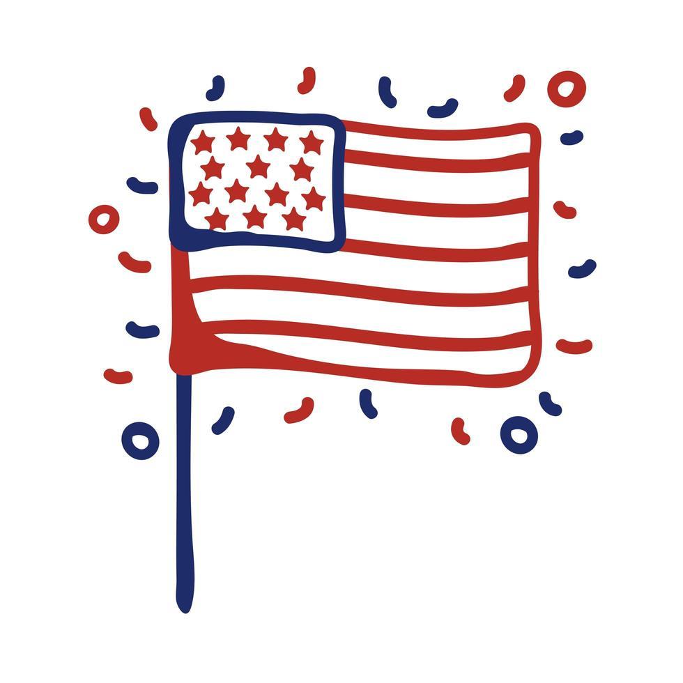 Diseño de ilustración de vector de estilo de línea de bandera de Estados Unidos