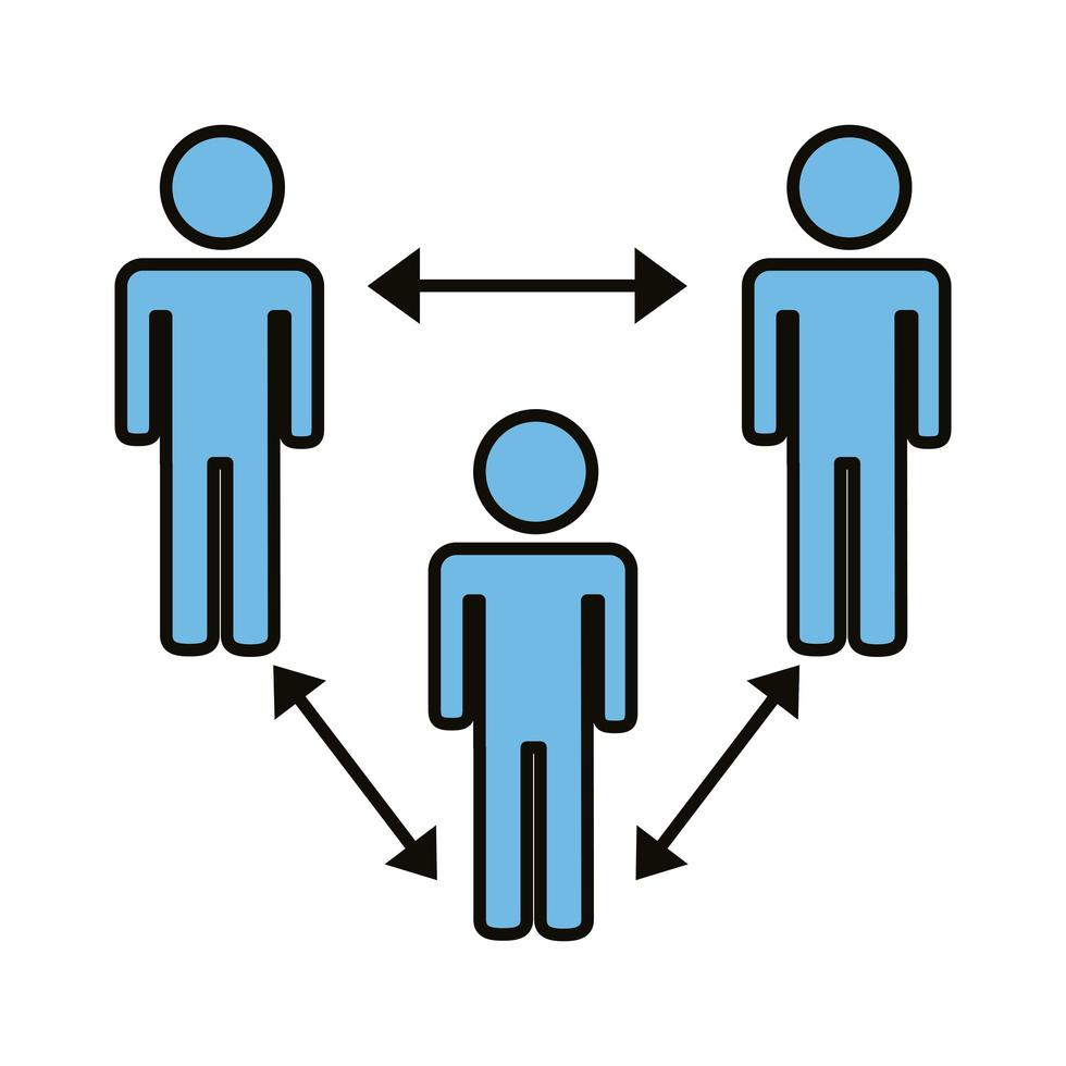 group of humans with social distance vector
