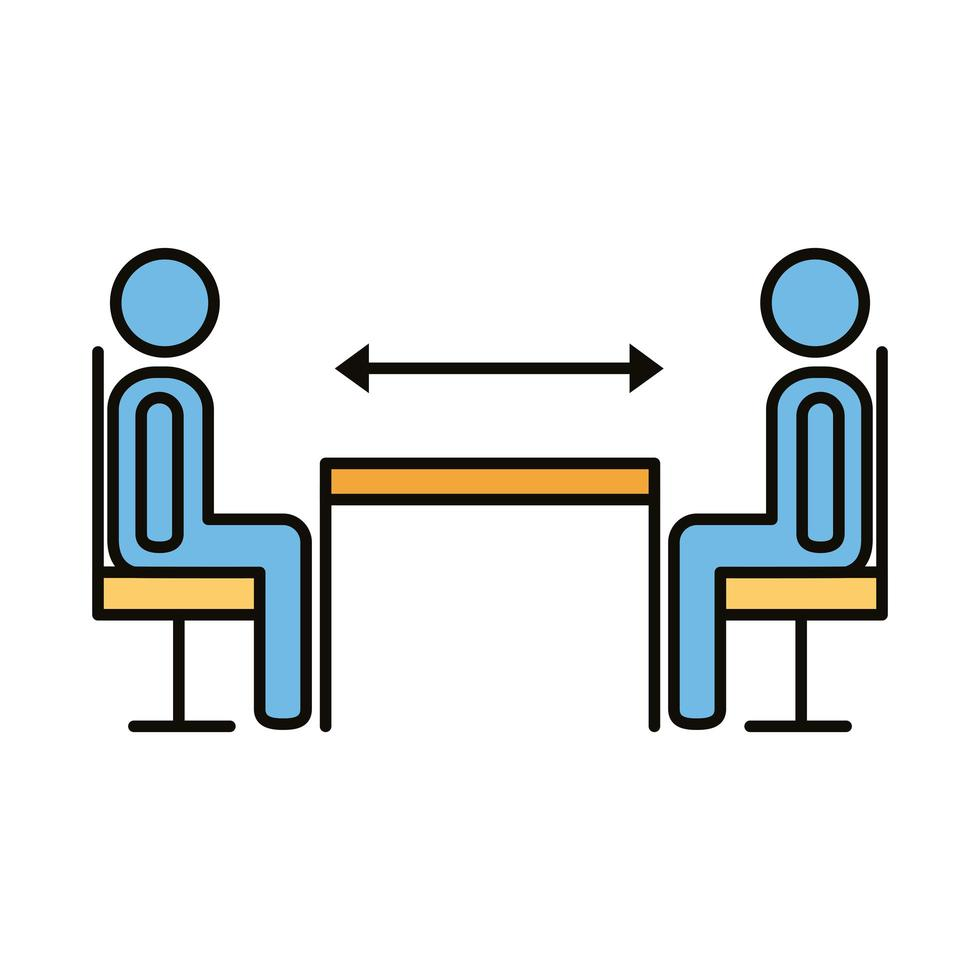 humans with social distance at dinner table vector