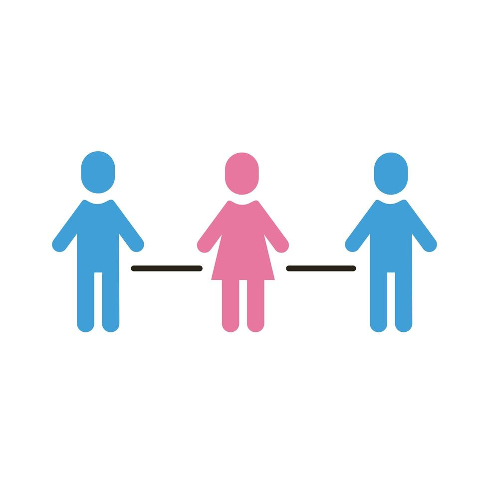 group of humans with social distance flat style vector
