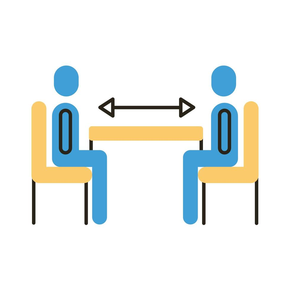 humans with social distance at dinner table flat style icon vector