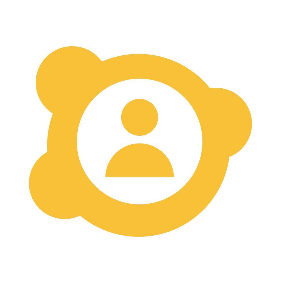 icono de estilo de bloque de silueta de usuario de avatar vector