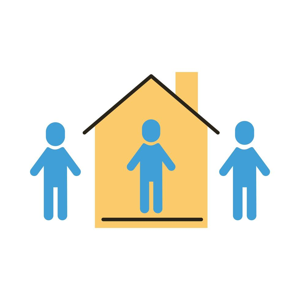 group of humans with social distance inside house flat style vector