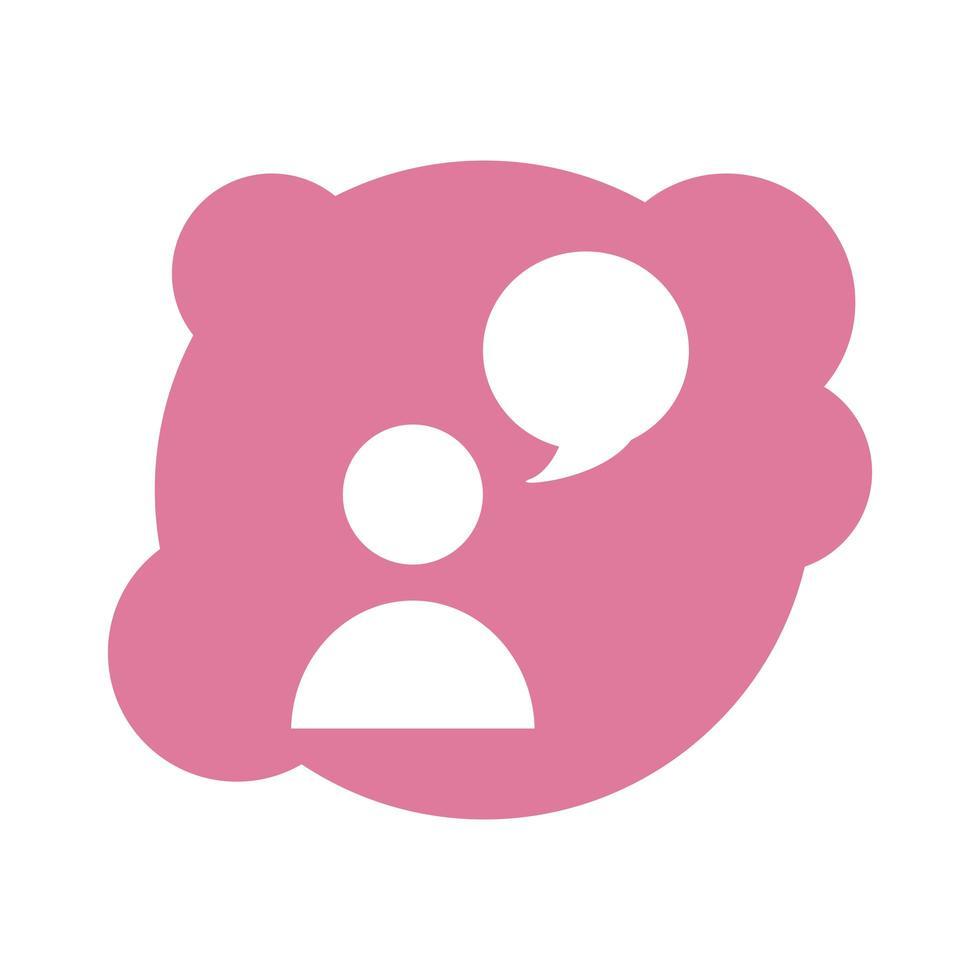 silueta de usuario avatar con icono de estilo de bloque de burbujas de discurso vector