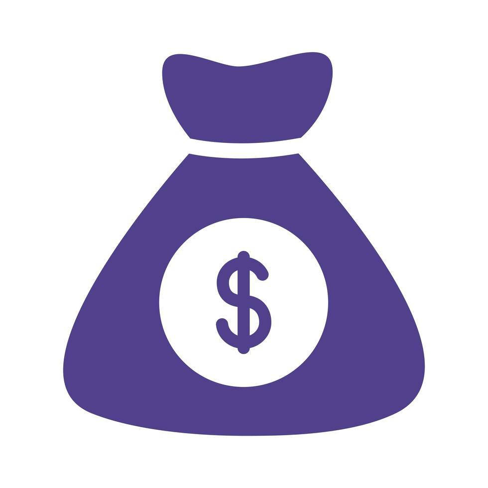 money bag silhouette style vector
