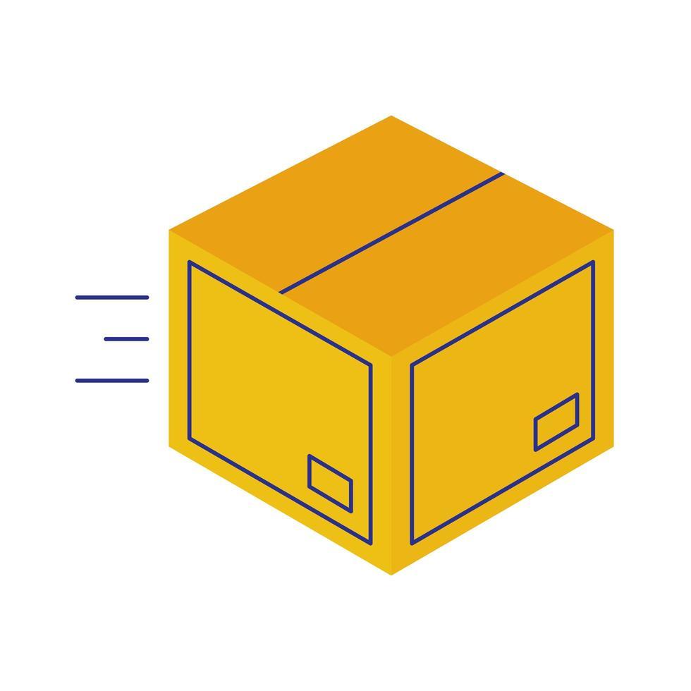 servicio de entrega de caja de cartón estilo plano vector