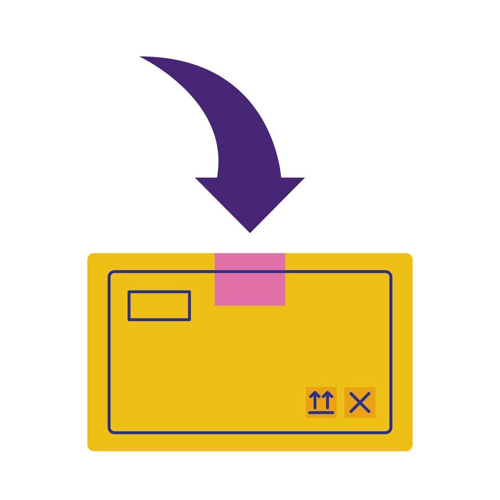 Caja de cartón con servicio de entrega de flecha hacia abajo estilo plano vector